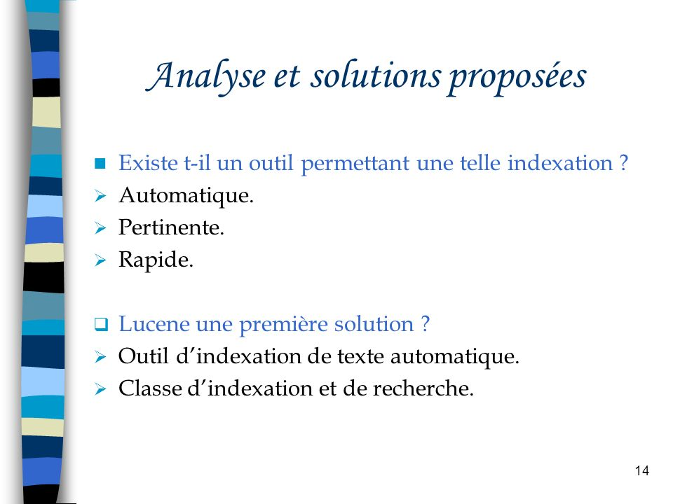 Analyse et solutions proposées
