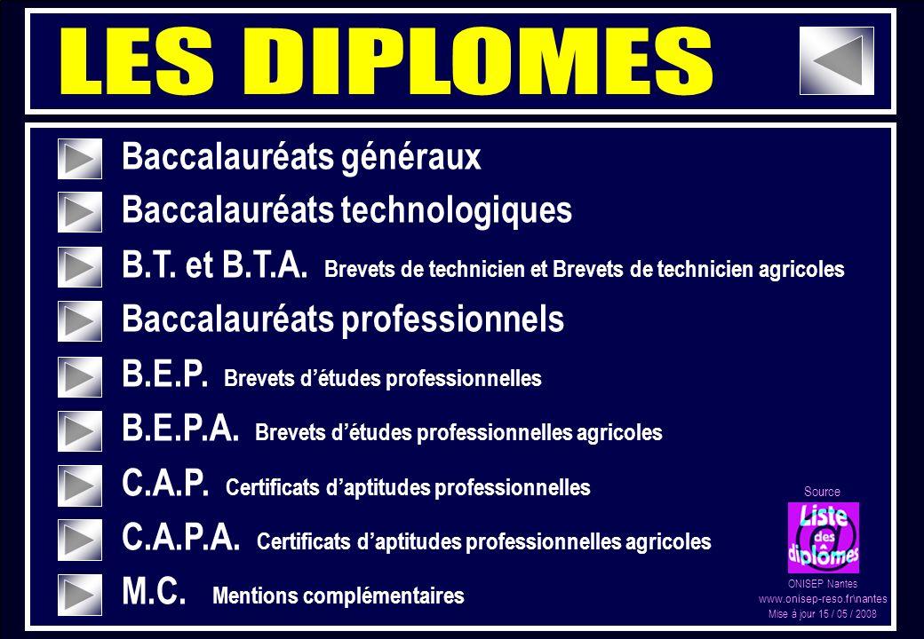 LES DIPLOMES Baccalauréats généraux Baccalauréats technologiques