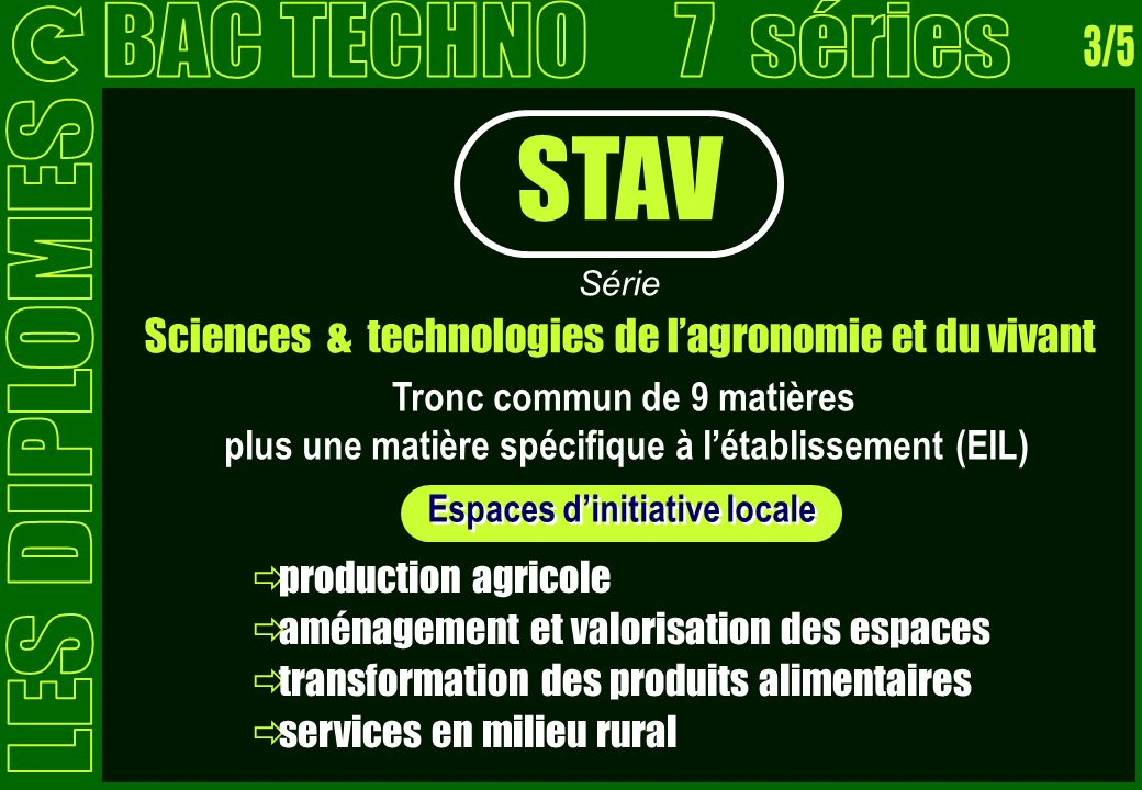 STAV BAC TECHNO 7 séries 3/5 LES DIPLOMES