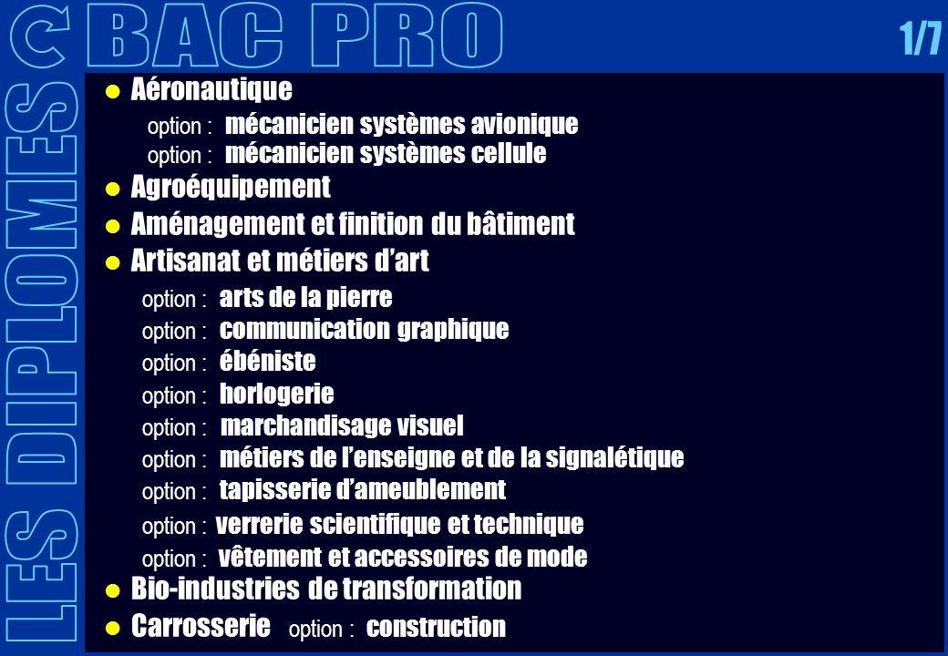 BAC PRO 1/7 LES DIPLOMES Aéronautique Agroéquipement