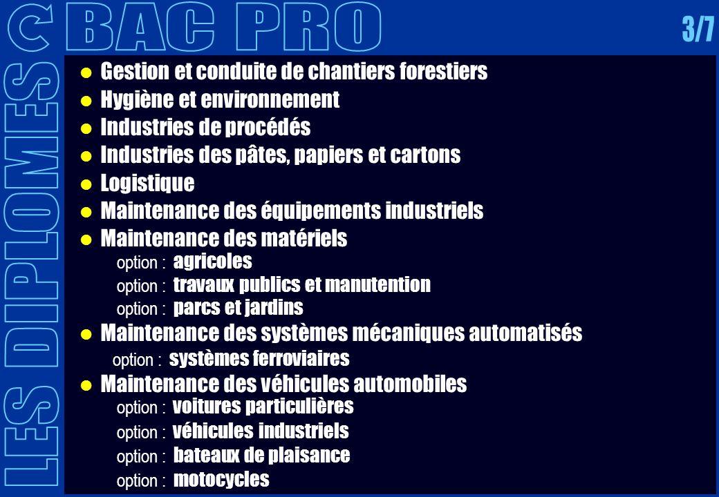 BAC PRO 3/7 LES DIPLOMES Gestion et conduite de chantiers forestiers