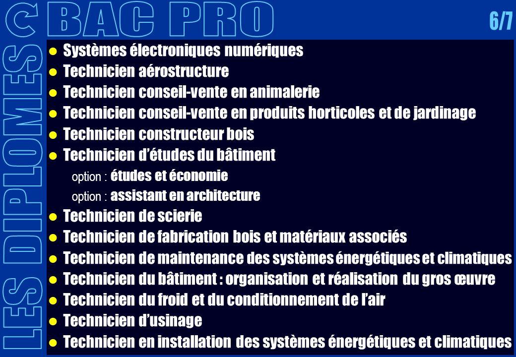 BAC PRO 6/7 LES DIPLOMES Systèmes électroniques numériques