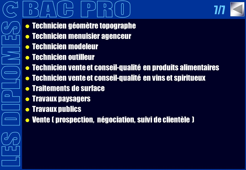 BAC PRO 7/7 LES DIPLOMES Technicien géomètre topographe