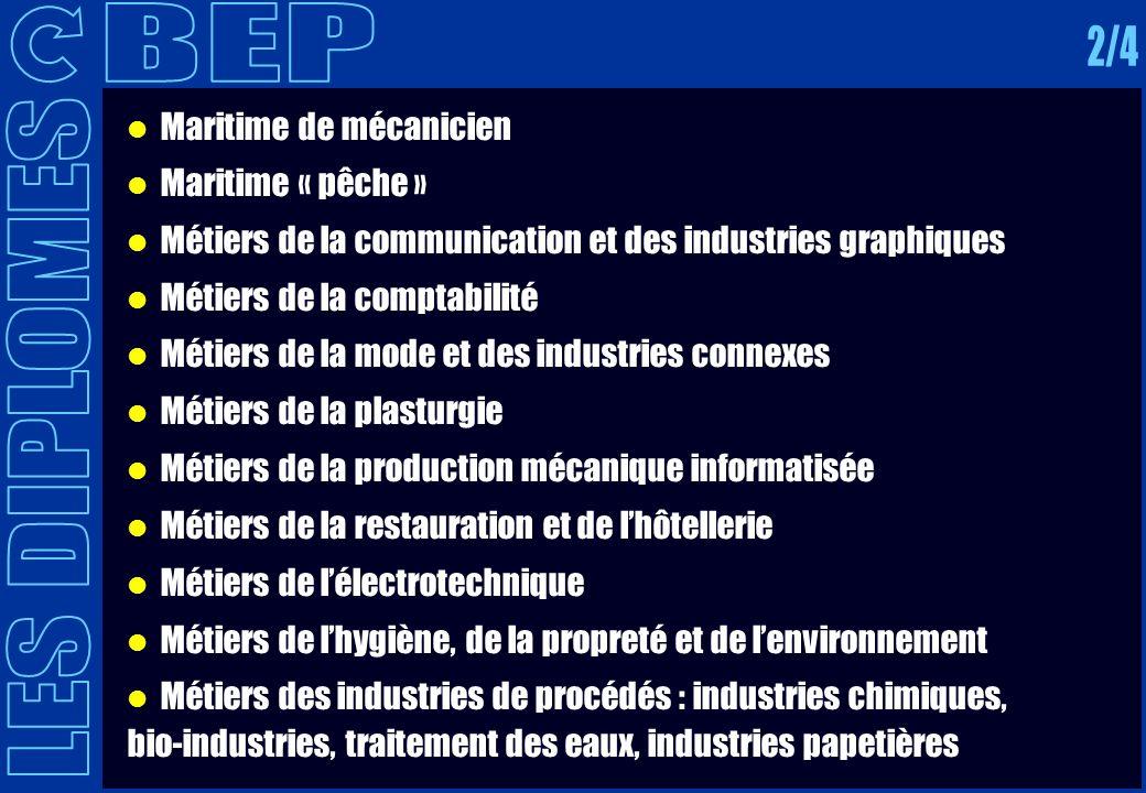 BEP 2/4 LES DIPLOMES Maritime de mécanicien Maritime « pêche »