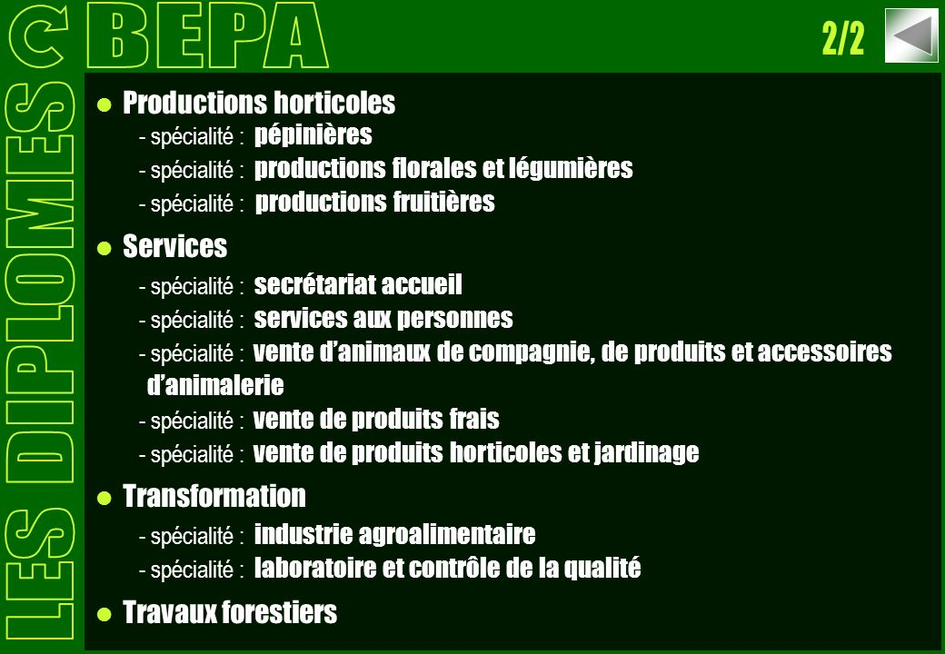 BEPA 2/2 LES DIPLOMES Productions horticoles Services Transformation