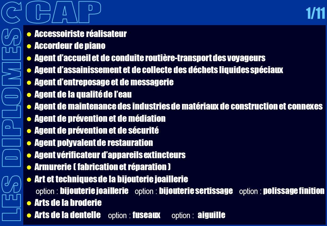 CAP 1/11 LES DIPLOMES Accessoiriste réalisateur Accordeur de piano