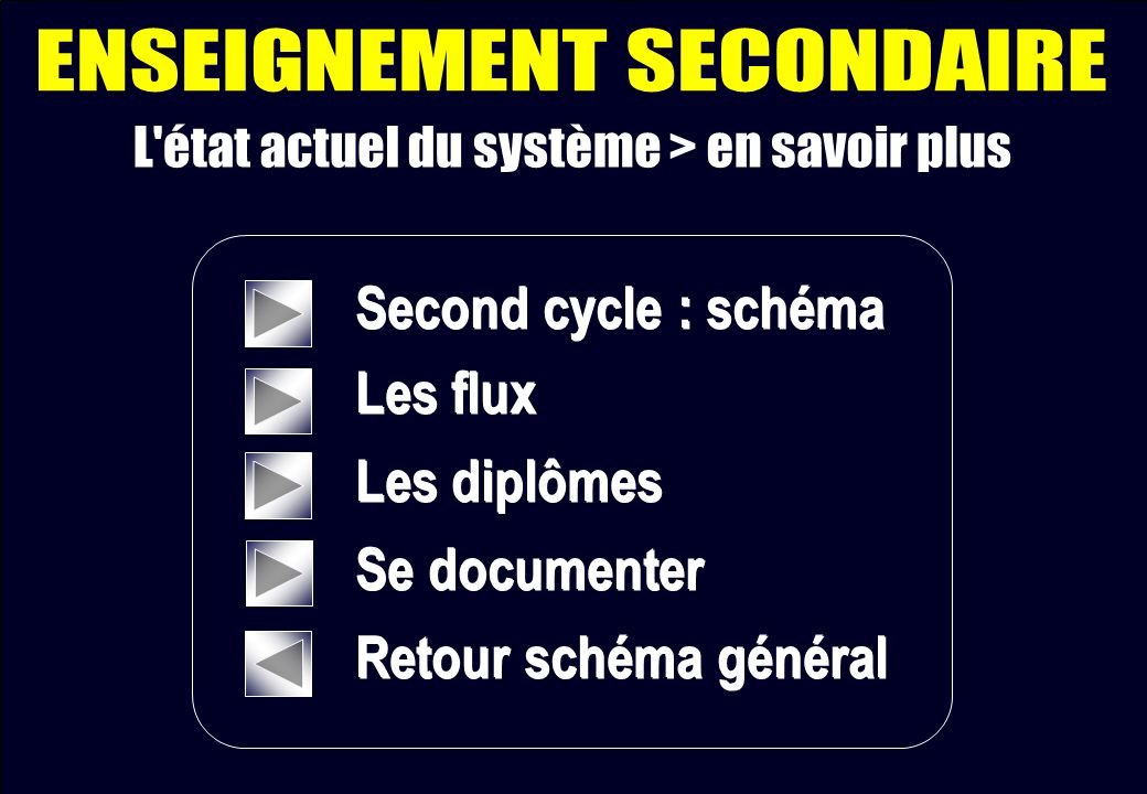 Second cycle : schéma Les flux Les diplômes Se documenter