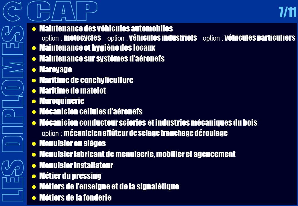 CAP 7/11 LES DIPLOMES Maintenance des véhicules automobiles