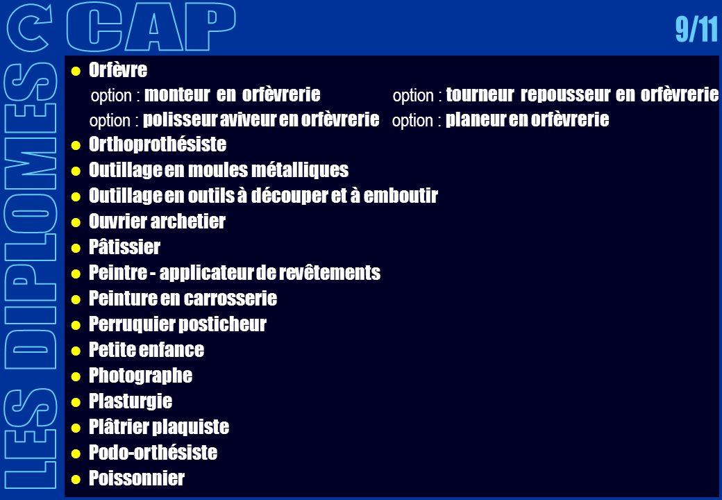 CAP 9/11 LES DIPLOMES Orfèvre Orthoprothésiste
