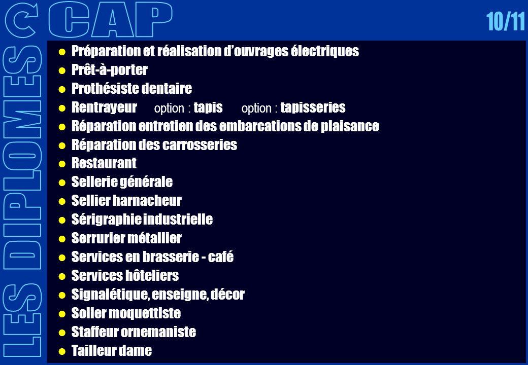 CAP 10/11. Préparation et réalisation d'ouvrages électriques. Prêt-à-porter. Prothésiste dentaire.