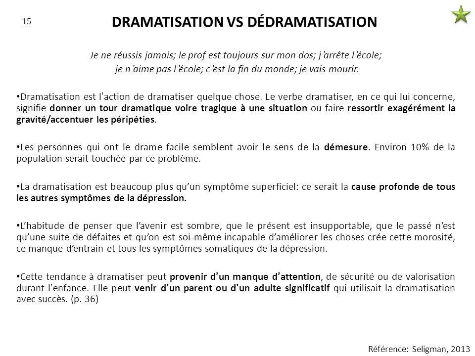 DRAMATISATION VS DÉDRAMATISATION