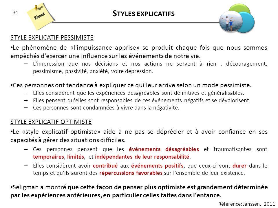 Styles explicatifs STYLE EXPLICATIF PESSIMISTE