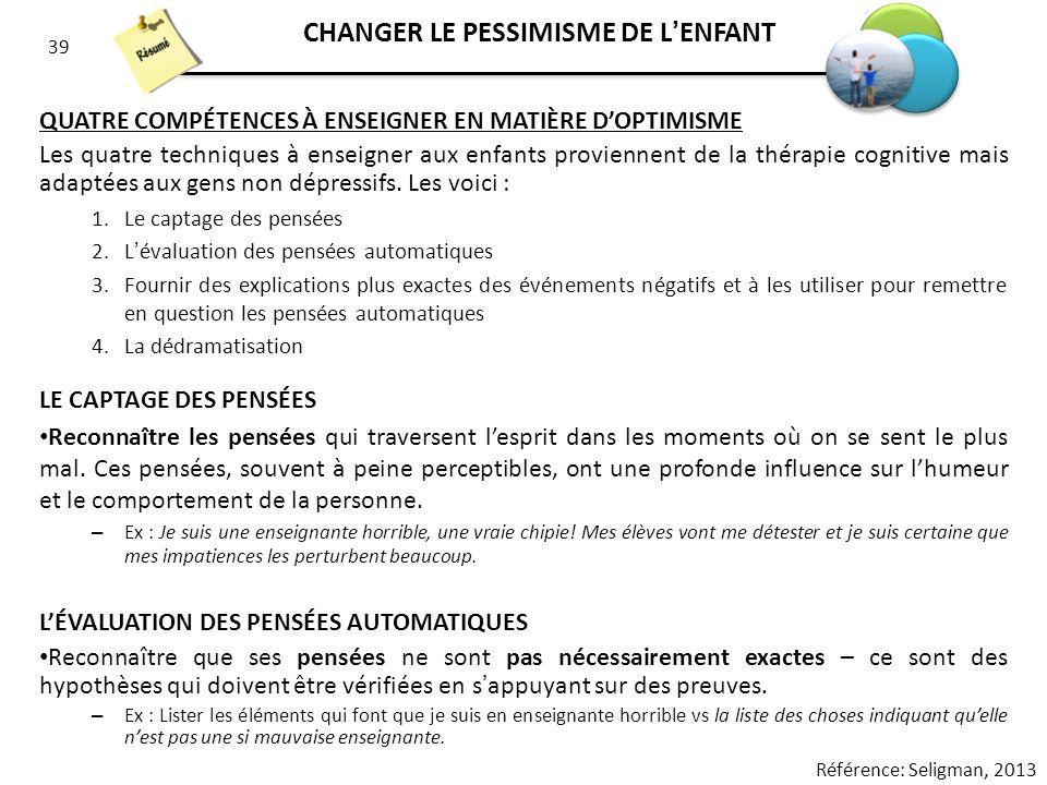 CHANGER LE PESSIMISME DE L'ENFANT
