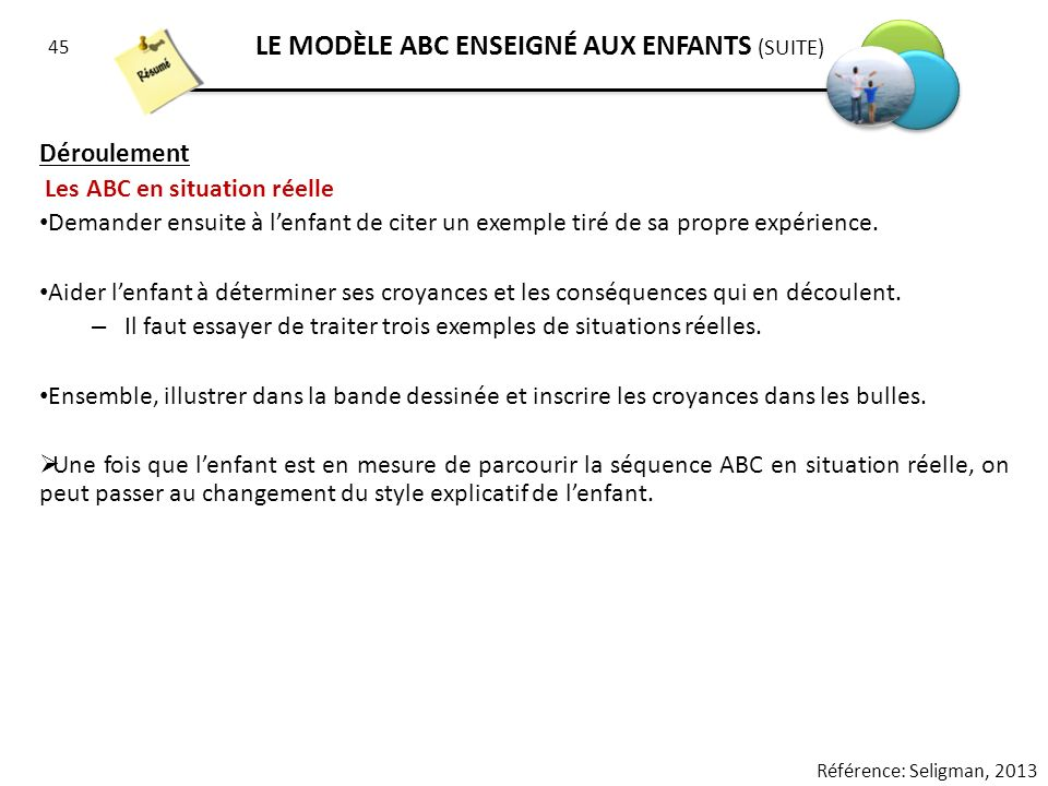 LE MODÈLE ABC ENSEIGNÉ AUX ENFANTS (SUITE)