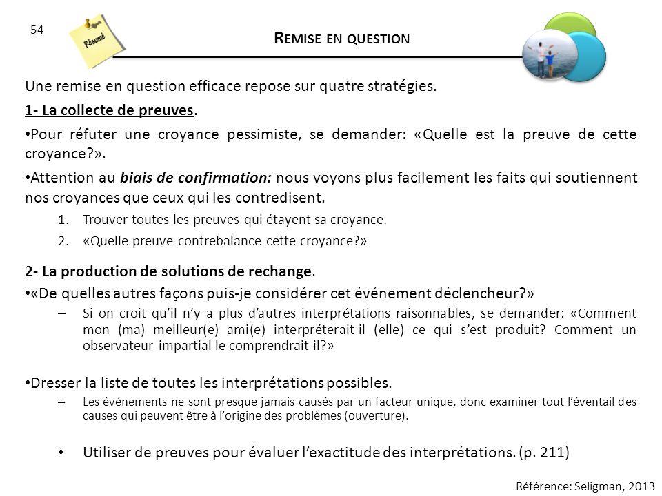 Remise en question Une remise en question efficace repose sur quatre stratégies. 1- La collecte de preuves.