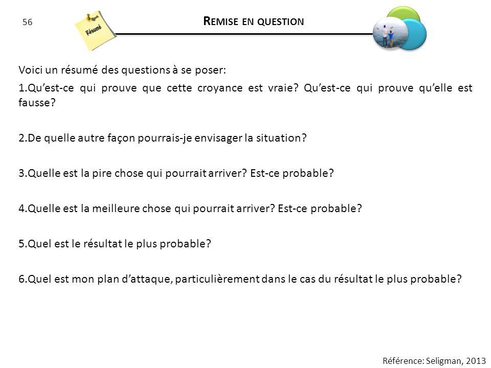 Remise en question Voici un résumé des questions à se poser: