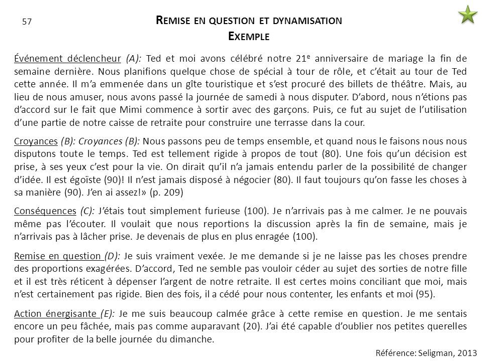 Remise en question et dynamisation Exemple