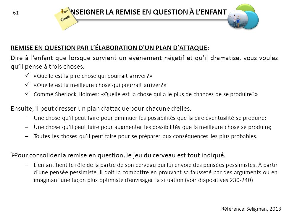 ENSEIGNER LA REMISE EN QUESTION À L'ENFANT