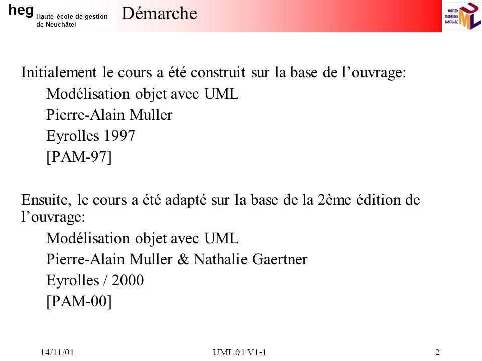 14/11/01 Démarche. Initialement le cours a été construit sur la base de l'ouvrage: Modélisation objet avec UML.