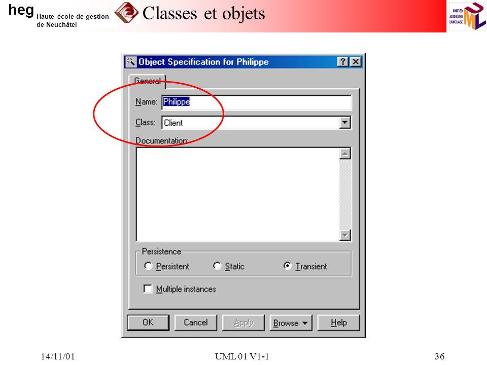 i Classes et objets 14/11/01 UML 01 V1-1 14/11/01