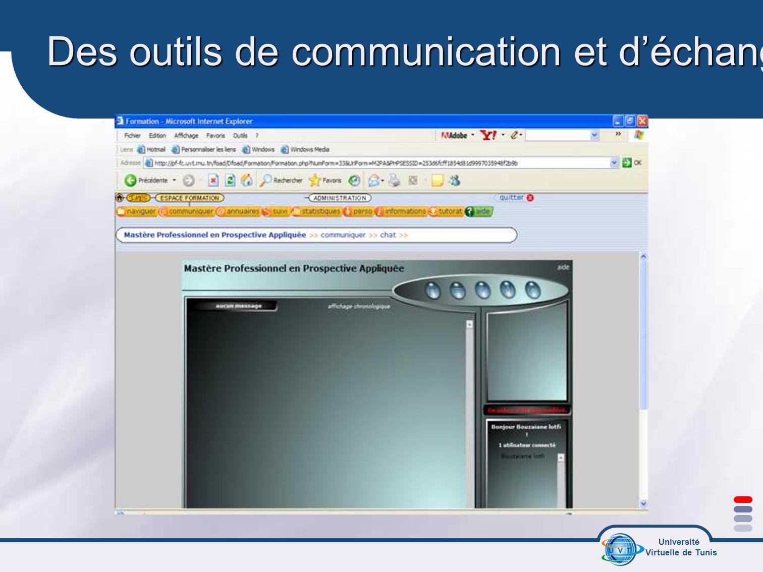 Des outils de communication et d'échanges synchrones