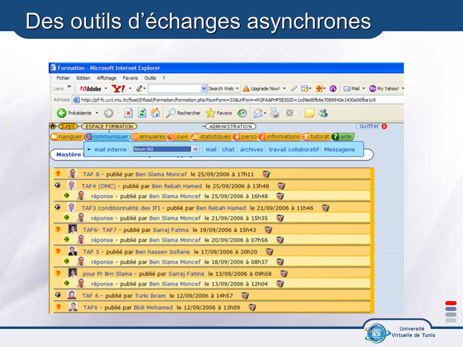 Des outils d'échanges asynchrones