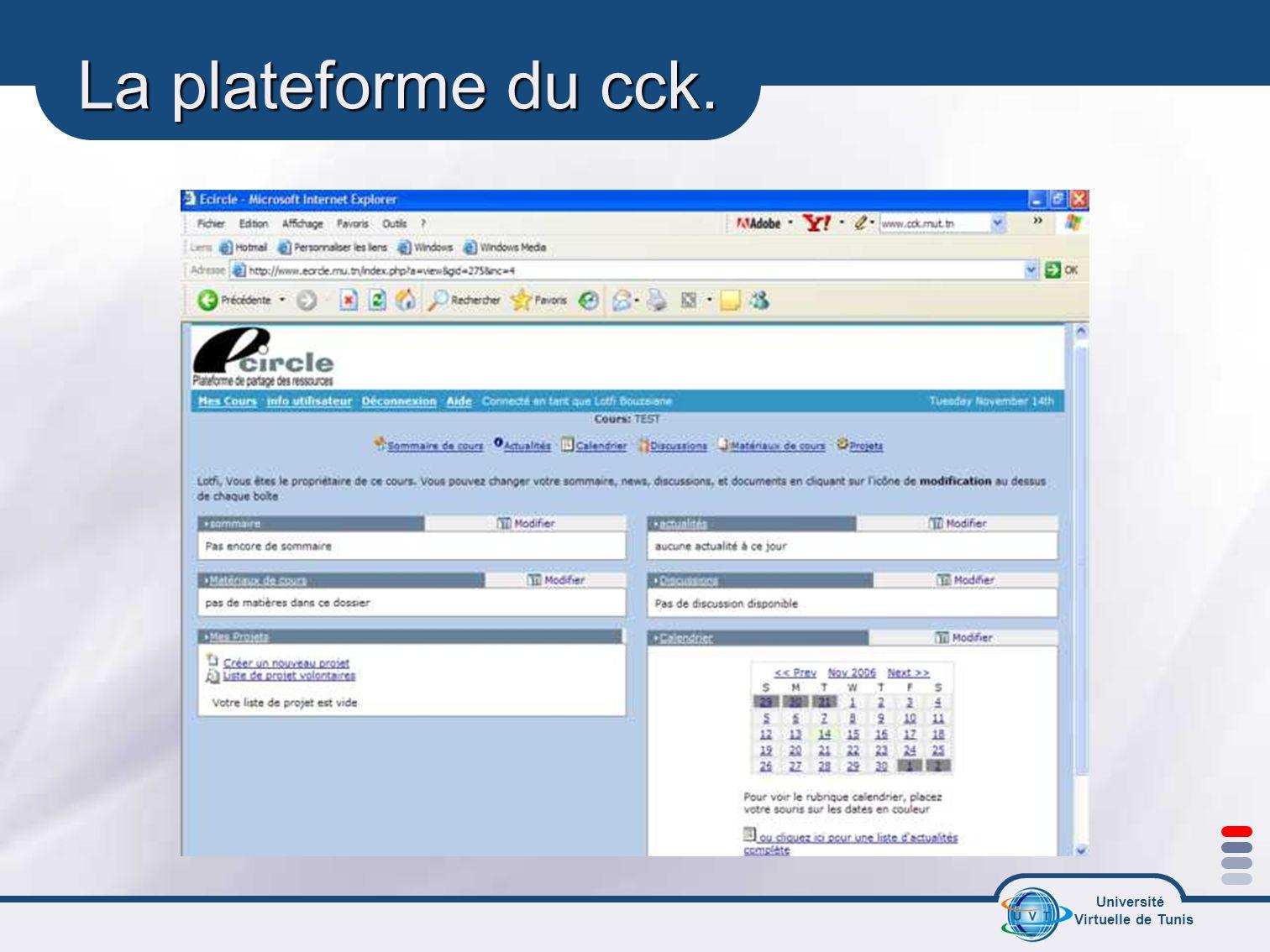 La plateforme du cck.