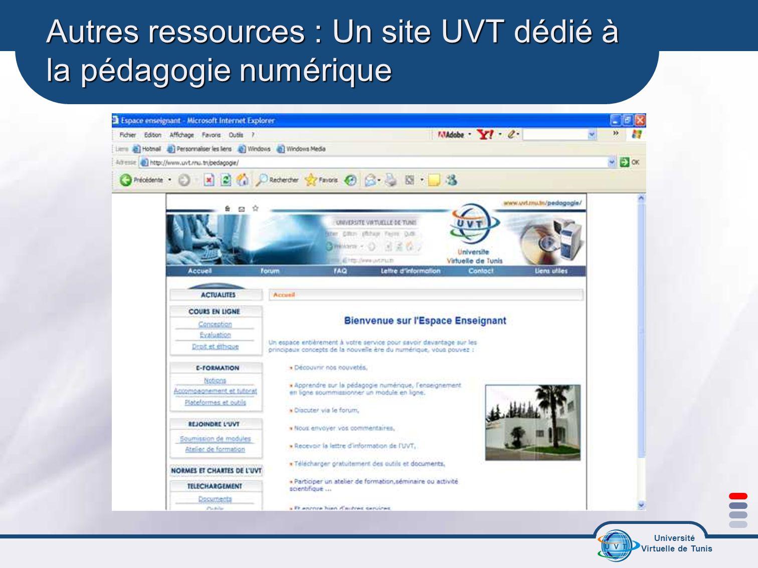 Autres ressources : Un site UVT dédié à la pédagogie numérique