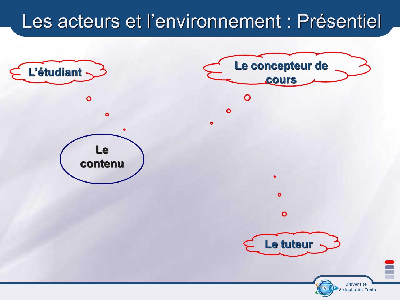 Les acteurs et l'environnement : Présentiel