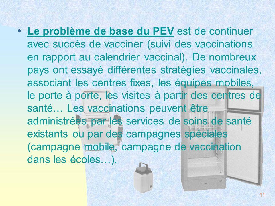 Le problème de base du PEV est de continuer avec succès de vacciner (suivi des vaccinations en rapport au calendrier vaccinal).