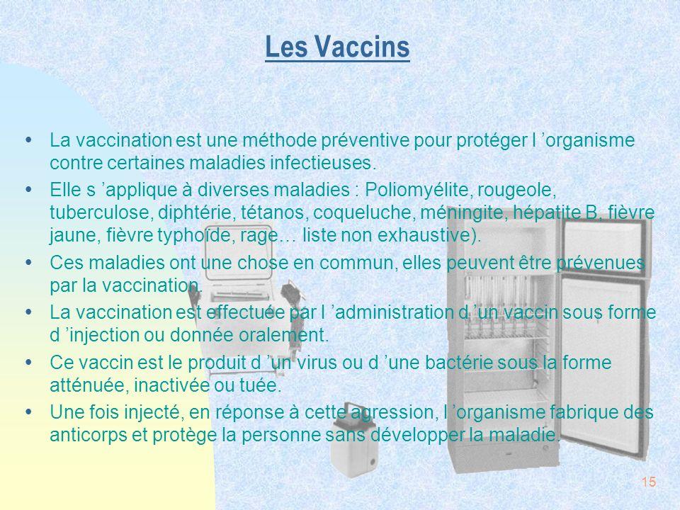 Les Vaccins La vaccination est une méthode préventive pour protéger l 'organisme contre certaines maladies infectieuses.