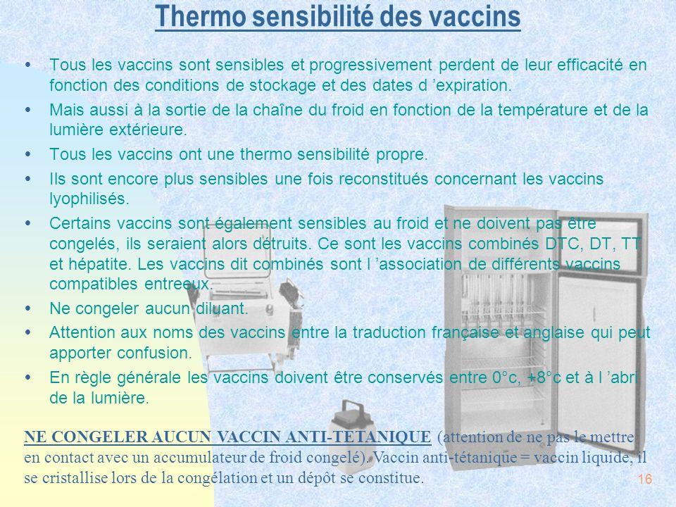 Thermo sensibilité des vaccins