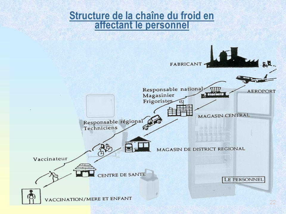Structure de la chaîne du froid en affectant le personnel