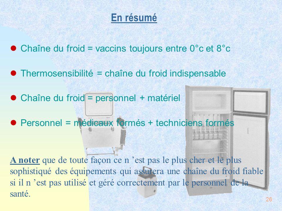 En résumé Chaîne du froid = vaccins toujours entre 0°c et 8°c