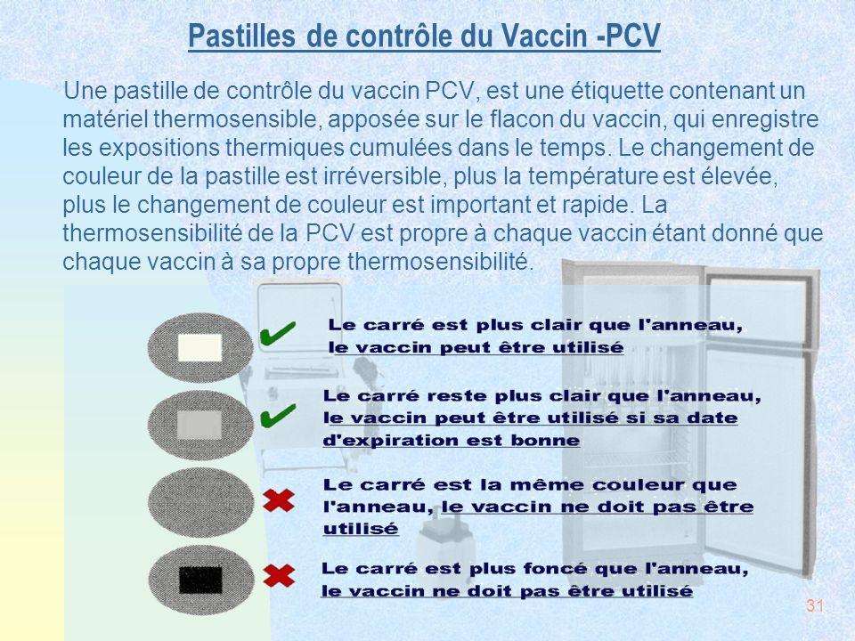 Pastilles de contrôle du Vaccin -PCV