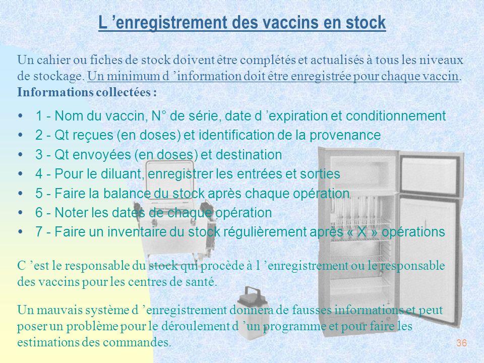 L 'enregistrement des vaccins en stock