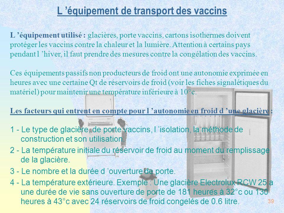 L 'équipement de transport des vaccins