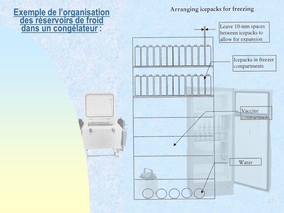 Exemple de l'organisation des réservoirs de froid dans un congélateur :