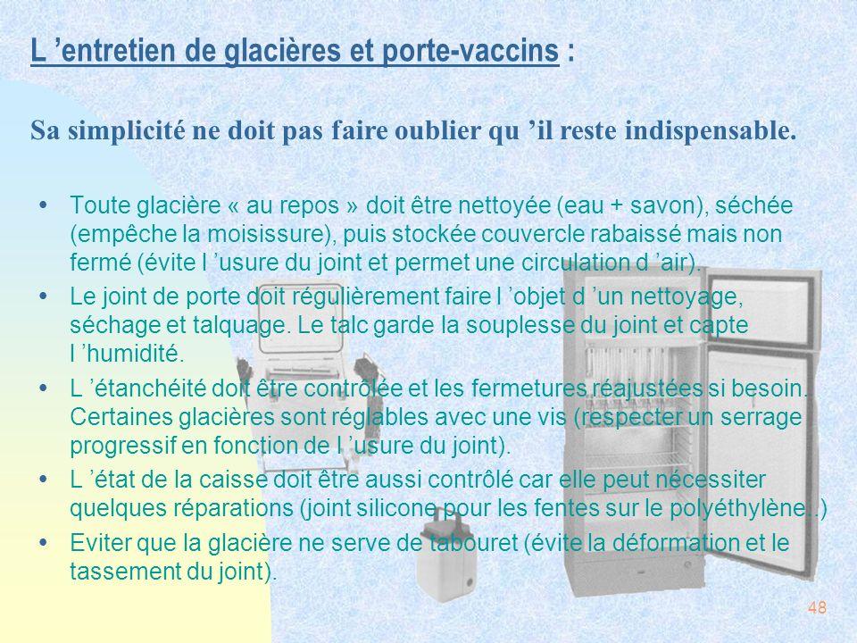L 'entretien de glacières et porte-vaccins :