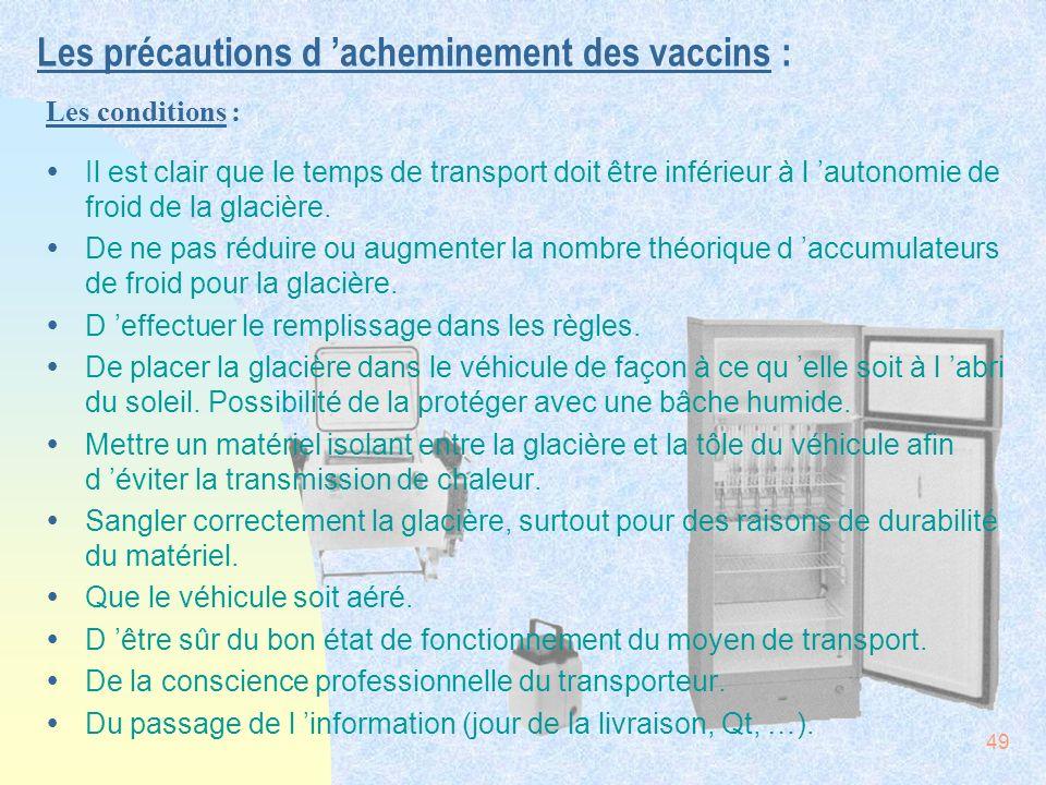 Les précautions d 'acheminement des vaccins :