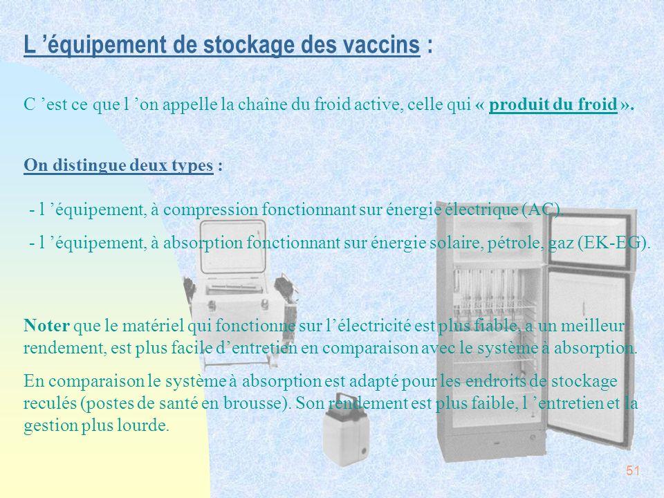L 'équipement de stockage des vaccins :