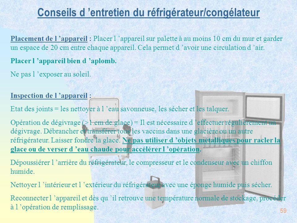 Conseils d 'entretien du réfrigérateur/congélateur