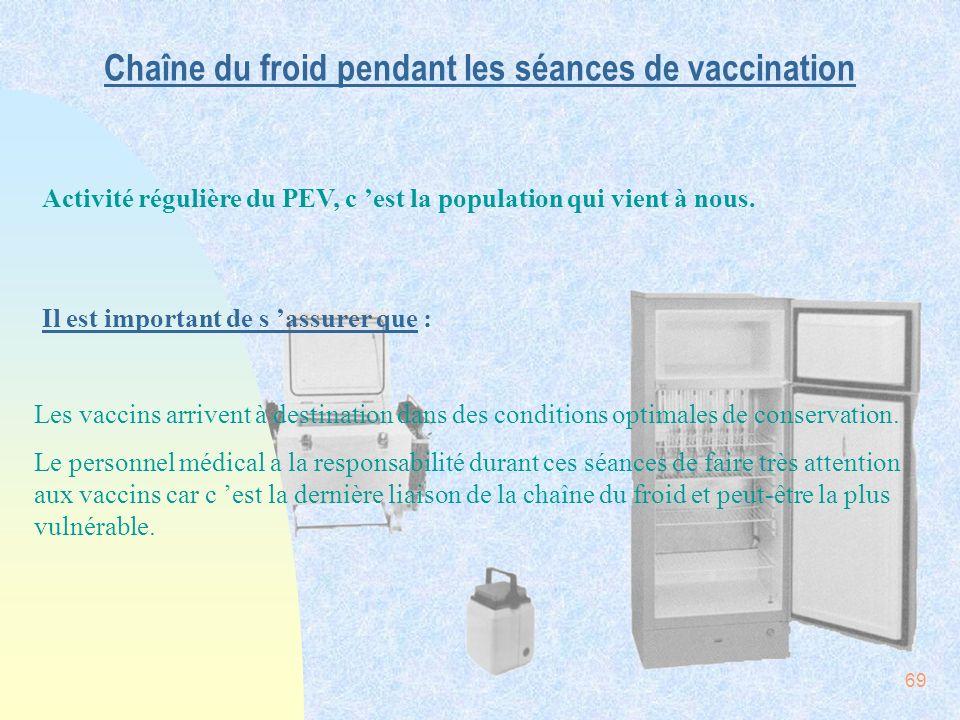 Chaîne du froid pendant les séances de vaccination