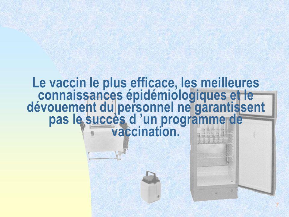 Le vaccin le plus efficace, les meilleures connaissances épidémiologiques et le dévouement du personnel ne garantissent pas le succès d 'un programme de vaccination.