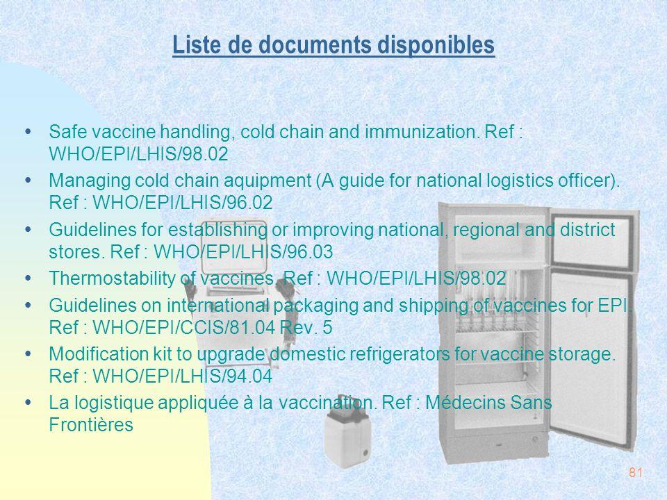 Liste de documents disponibles