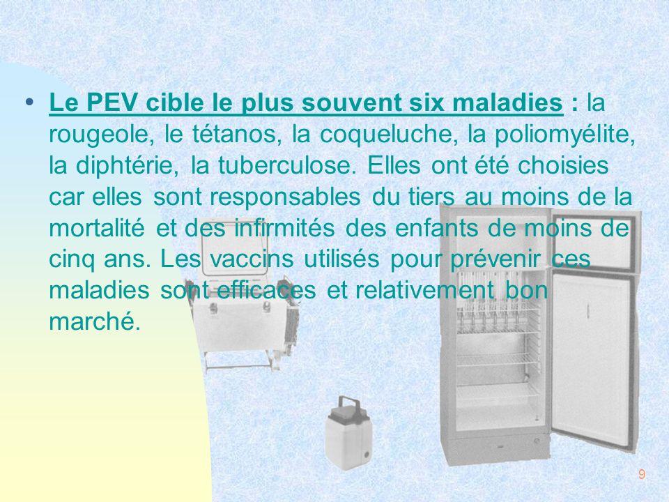 Le PEV cible le plus souvent six maladies : la rougeole, le tétanos, la coqueluche, la poliomyélite, la diphtérie, la tuberculose.