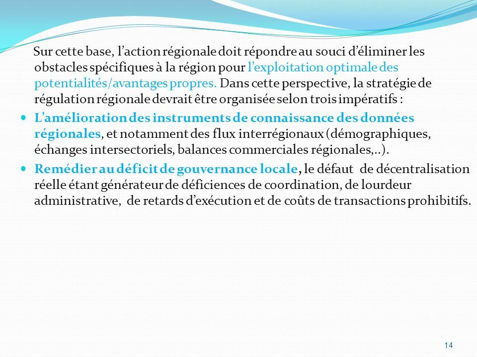 Sur cette base, l'action régionale doit répondre au souci d'éliminer les obstacles spécifiques à la région pour l'exploitation optimale des potentialités/avantages propres. Dans cette perspective, la stratégie de régulation régionale devrait être organisée selon trois impératifs :
