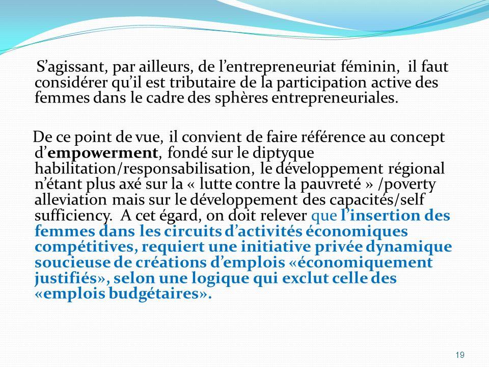 S'agissant, par ailleurs, de l'entrepreneuriat féminin, il faut considérer qu'il est tributaire de la participation active des femmes dans le cadre des sphères entrepreneuriales.