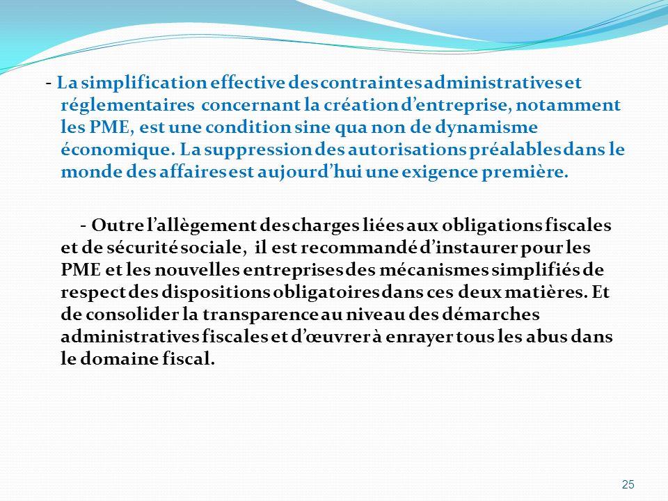 - La simplification effective des contraintes administratives et réglementaires concernant la création d'entreprise, notamment les PME, est une condition sine qua non de dynamisme économique.