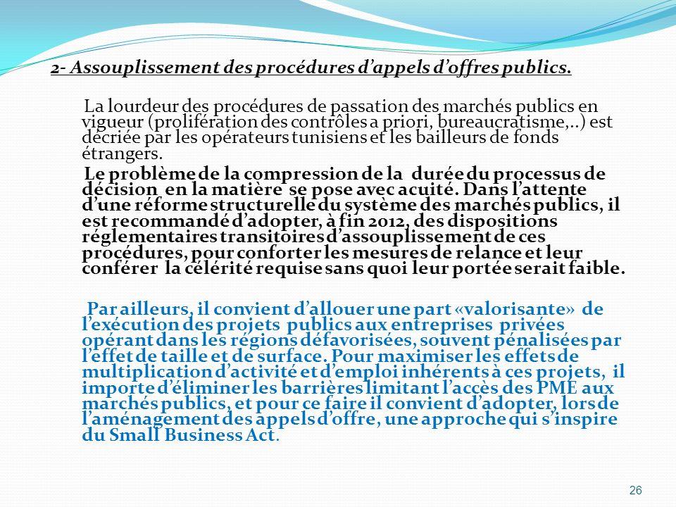 2- Assouplissement des procédures d'appels d'offres publics.